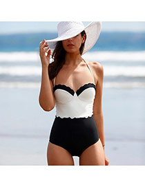 Trendy White+black Color Matching One-piece Design