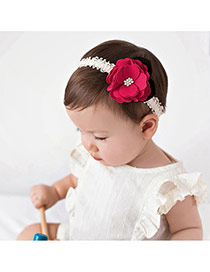Cute Plum Red Flower Shape Decorated Simple Design Fabric Kids Accessories