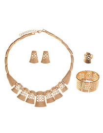 Fashion Gold Color Geometry Shape Decorated Hollow Out Design Alloy Jewelry Sets