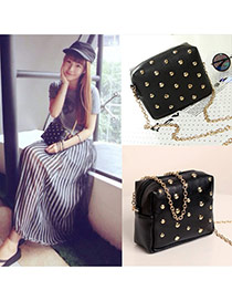 Fashion Black Pure Color Rivet Decorated Mini Deisng