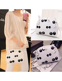 Cute White Panda Eye Pattern Decorated Shell Shape Design  Pu Shoulder bags