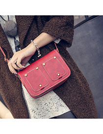 Fashion Red Trouser Pocket Shape Decorated Pure Color Design  Pu Shoulder bags
