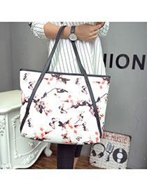 Vintage White Flower Pattern Decorated Shrot Straps Design  Pu Handbags