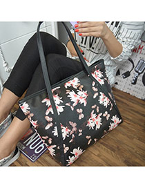 Vintage Bkack Flower Pattern Decorated Shrot Straps Design  Pu Handbags