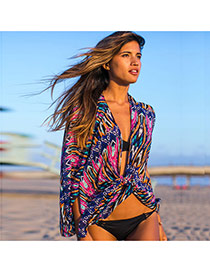 Sexy Multi-color Geometric Shape Pattern Decorated Losse Cardigan Design Bikini Cover Up Smock