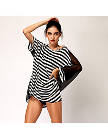 Sexy Black+white Dissymmetry Sleeve Stripe Pattern Decorated Loose Short Design Bikini Cover Up Smock Chiffon Swimwear Accessories