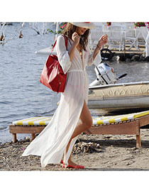Sexy White Long Sleeve Belt Decorated Deep V-neck Loose Design Bikini Cover Up Smock Chiffon Swimwear Accessories