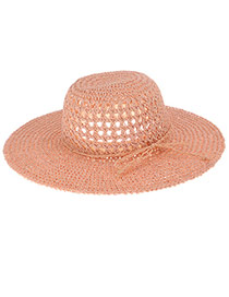 Fashoin Beige Bowknot Decorated Hollow Out Weaving Design  Straw Sun Hats