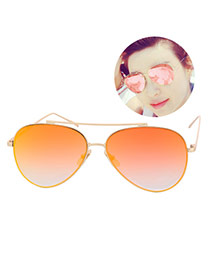 Fashion Orange Metal Decorated Reflective Film Simple Design Resin Women Sunglasses