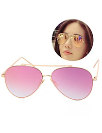 Fashion Pink Metal Decorated Reflective Film Simple Design Resin Women Sunglasses Reviews