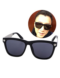 Personality Blue+silver Color Star Decorated Square Shape Frame Design Resin Women Sunglasses