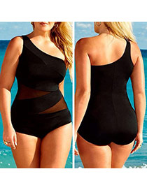 Sexy Black Net Part Decorated One Shoulder Joint Design  Dacron Monokini