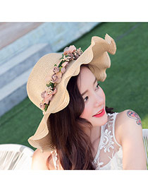 Sweet Beige Flower Decorated Wide Brim Design