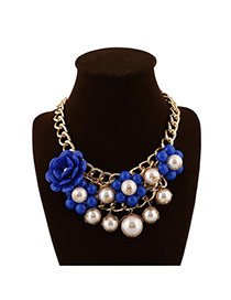 Elegant Blue Pearl&flower Weaving Decorated Collar Design