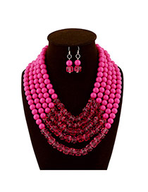 Fashion Plum Red Beads Decorated Multilayer Collar Shape Design  Acrylic Jewelry Sets