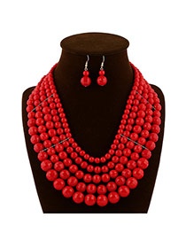 Luxury Red Pure Color Beads Weaving Decorated Multilayer Design  Rosin Jewelry Sets