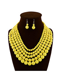 Luxury Yellow Pure Color Beads Weaving Decorated Multilayer Design  Rosin Jewelry Sets