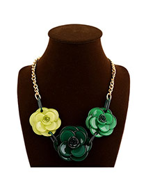 Sweet Green Three Big Flower Pendant Decorated Simple Design Alloy Bib Necklaces