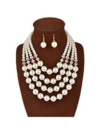 Luxury White Crystal Pearl Decorated Multilayer Design Pearl Jewelry Sets