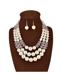 Luxury White Crystal Pearl Decorated Multilayer Design