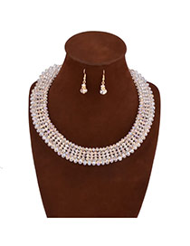 Exquisite White Multilayer Beads Weaving Decorated Collar Design Rosin Jewelry Sets