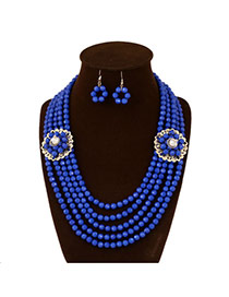 Exaggerate Blue Two Flowers Decorated Multilayer Design Acrylic Jewelry Sets