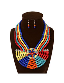 Exaggerate Multi-color Flower&fan Shape Decorated Multilayer Design Acrylic Jewelry Sets