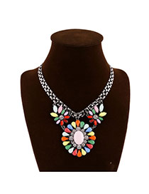 Exaggerate Multi-color Round Flower Shape Pendant Decorated Short Chain Design Alloy Bib Necklaces