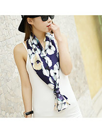 Fashion Dark Purple Flower Pattern Decorated Duplex Design  Imitated Silk Fabric Thin Scaves