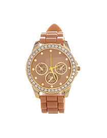 Casual Coffee Diamond & Small Seconds Decorated Round Case Design  Plastic Ladies Watches