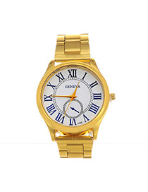 Casual Gold Color Roman Numerals Decorated Round Case Design  Alloy Ladies Watches