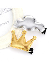 Sweet Silver+gold Color Crown&cloud Shape Decorated Simple Design Pu Kids Accessories