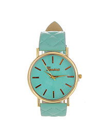 Fashion Blue Grid Strap Decorated Pure Color Design  Pu Ladies Watches