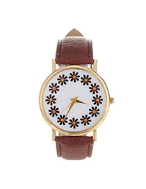 Elegant Coffee Flowers Pattern Decorated Pure Color Design  Pu Ladies Watches