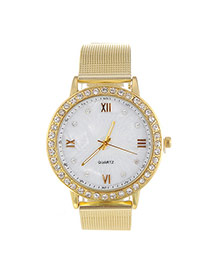 Fashion Gold Color Diamond Decorated Hollow Out Strap Design  Alloy Ladies Watches