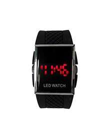 Personality Black Led Display Square Shape Case Design Plastic Men's Watches