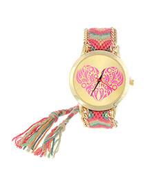 Vintage Plum Red+green Heart Shape Pattern Decorated Hand-woven Strap Design  Fabric Ladies Watches