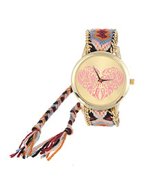 Vintage Red+blue Heart Shape Pattern Decorated Hand-woven Strap Design  Fabric Ladies Watches