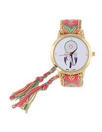 Vintage Plum Red+green Wind Chimes Pattern Decorated Hand-woven Strap Design  Fabric Ladies Watches