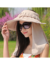 Trending Beige Wide Brim Folding Neck Cover Design  Fabric Sun Hats