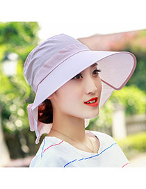 Trending Pink Pure Color Large Brim Folding Design  Fabric Sun Hats