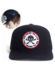 Fashion Black Embroidered Skull&letter Pattern Decorated Simple Design