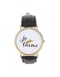 Fashion Black Letter Pattern Decorated Simple Design  Pu Ladies Watches