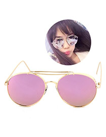 Trendy Pink Frog Eye Shape Frame Doule Layer Metal Design Alloy