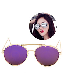 Trendy Purple Frog Eye Shape Frame Doule Layer Metal Design