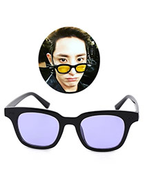 Fashion Purple Square Shape Frame Decorated Simple Design Resin Women Sunglasses