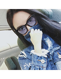 Fashion Blue Square Shape Frame Decorated Simple Design Resin Women Sunglasses