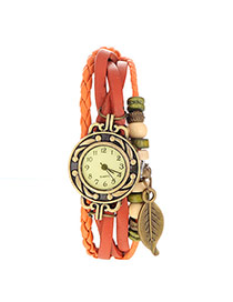 vintage Orange Leaf Shape Decorated Multilayer Design Pu Ladies Watches