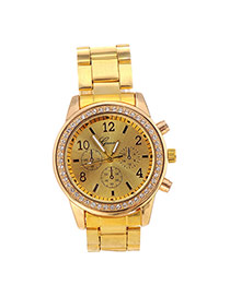 Fashion Gold Color Diamond Decorated Small Seconds Round Case Design Alloy Men's Watches