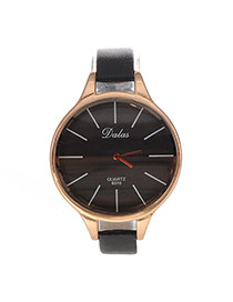 Personality Black Lines Decorated Round Case Design Pu Ladies Watches